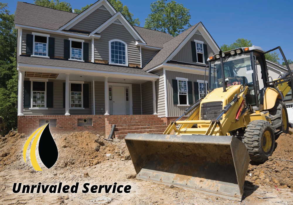 "Construction in the yard of a house. ""Unrivaled service"""